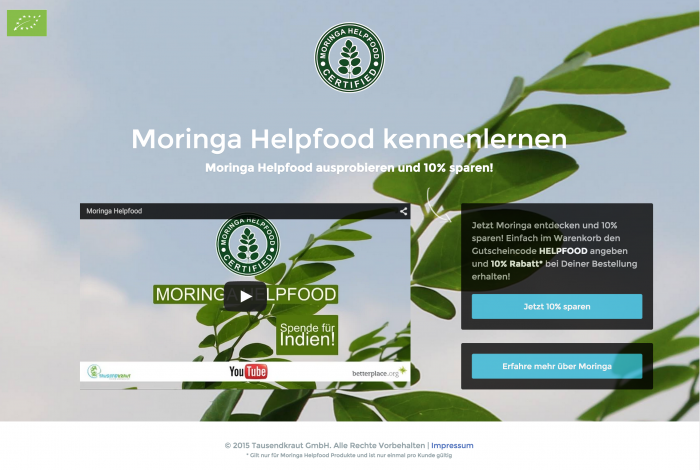 Moringa Helpfood Conversion Optimized Promotional Landing Page